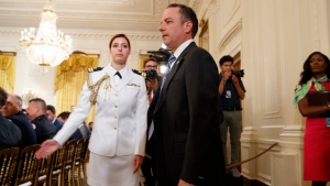 White House Chief of Staff Reince Priebus arrives in the East Room of the White House in Washington, Thursday, July 27, 2017, where President Donald Trump recognized the first responders from the June 14 Congressional baseball shooting. (AP Photo/Evan Vucci)