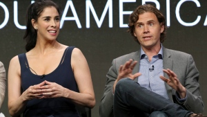 "Star/executive producer Sarah Silverman, left, and executive producer/showrunner Gavin Purcell participate in the ""I Love You, America"" panel during the Hulu Television Critics Association Summer Press Tour at the Beverly Hilton on Thursday, July 27, 2017, in Beverly Hills, Calif. (Photo by Willy Sanjuan/Invision/AP)"