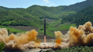 This July 4, 2017, file photo distributed by the North Korean government shows what was said to be the launch of a Hwasong-14 intercontinental ballistic missile, ICBM, in North Korea's northwest. Independent journalists were not given access to cover the event depicted in this photo. Less than two weeks after North Korea's first intercontinental ballistic missile test, South Koreas President Moon Jae-in offered on Monday, July 17, to hold talks at the tense border separating the two Koreas in what would be the rivals' first face-to-face meeting in 19 months. (Korean Central News Agency/Korea News Service via AP, File)