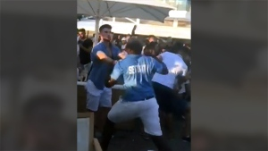 A CTV viewer sent in a video showing a violent brawl between patrons at Cabana Pool Bar and its security team on July 30, 2017.