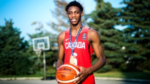 R.J. Barrett, 17, poses for a photograph outside his home in Mississauga, Ont., on Thursday, July 20, 2017. THE CANADIAN PRESS/Nathan Denette