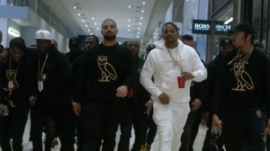 Drake and his OVO crew are seen inside Yorkdale Shopping Centre in their promotional video for a new flagship store. (Vimeo)