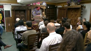 Yonge Street business owners gather for a meeting to discuss tax increases on Aug. 3, 2017. (CTV News Toronto)