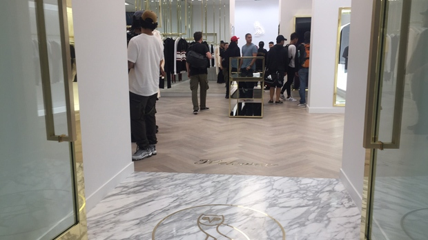 Drake fans check out the new OVO store at Yorkdale Mall. (Arda Zakarian/ CP24)