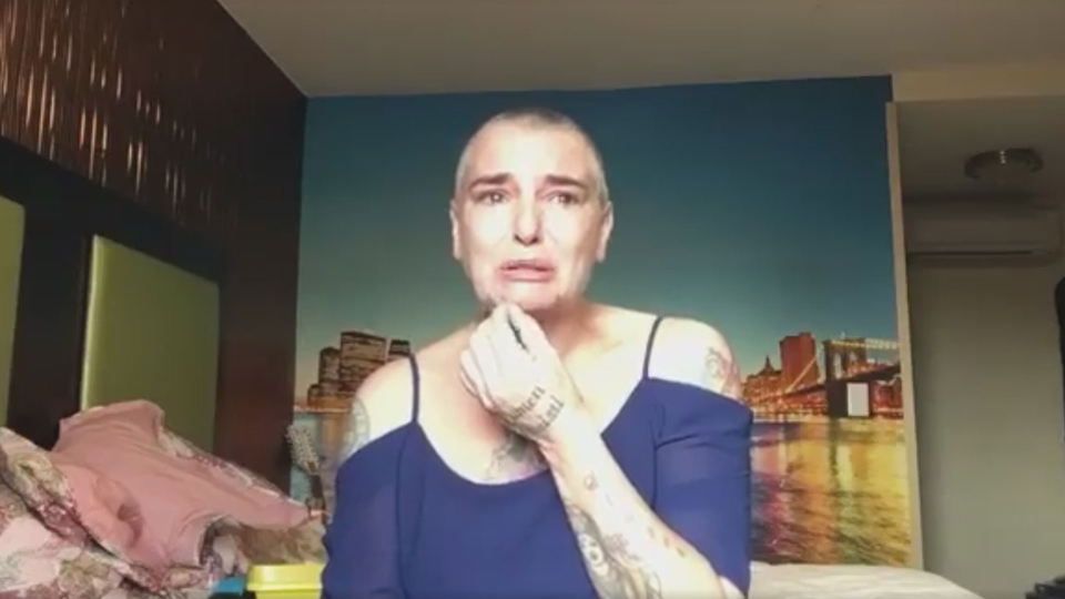 Sinead O'Connor pleads for help in this still image from a Facebook video she posted on Aug. 3, 2017. (Facebook)