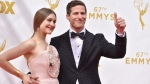 Joanna Newsom, left, and Host Andy Samberg arrive at the 67th Primetime Emmy Awards on Sunday, Sept. 20, 2015, at the Microsoft Theater in Los Angeles. (Photo by Jordan Strauss/Invision/AP)