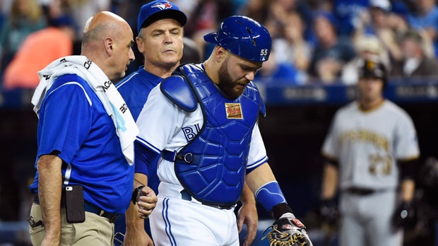 Blue Jays C Martin leaves with injury