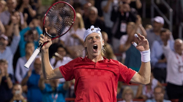 Denis Shapovalov of Canada celebrates after defeating Adrian Mannarino of France during quarter-final play at the Rogers Cup tennis tournament Friday August 11, 2017 in Montreal. THE CANADIAN PRESS/Paul Chiasson