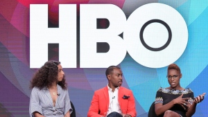 "This July 30, 2017, file photo shows Melina Matsoukas, from left, Prentice Penny and Issa Rae participating in the ""Insecure"" panel during the HBO Television Critics Association summer press tour in Beverly Hills, Calif. (Photo by Richard Shotwell/Invision/AP, File)"