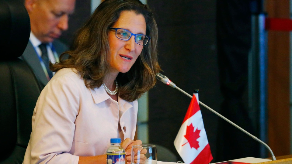 Canadian Foreign Minister Chrystia Freeland delivers her statement during the ASEAN-Canada ministerial meeting of the 50th ASEAN foreign ministers' meeting and its dialogue partners. Sunday, Aug. 6, 2017 in suburban Pasay city, south Manila, Philippines. (AP Photo/Bullit Marquez, POOL)