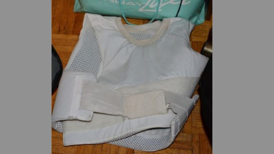 A bulletproof vest allegedly seized in the execution of a search warrant at a shooting suspect's home Sunday August 13, 2017 is pictured. (Handout /Toronto Police)