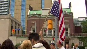 A rally is being held outside the U.S. consulate in Toronto in solidarity with Charlottesville, Virginia.