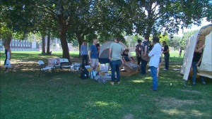 A pop-up safe injection site was set up at Moss Park in Toronto on Aug. 14, 2017.