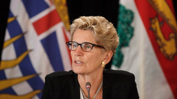 Ontario Premier Kathleen Wynne speaks during the final press conference at the Council of Federation meetings in Edmonton Alta, on Wednesday July 19, 2017. THE CANADIAN PRESS/Jason Franson