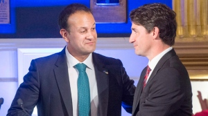 Prime Minister Justin Trudeau, right, thanks Irish Taoiseach Leo Varadkar after his remarks at a state dinner in Dublin Castle Tuesday, July 4, 2017 in Dublin.THE CANADIAN PRESS/Ryan Remiorz