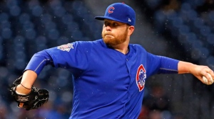 Chicago Cubs starting pitcher Brett Anderson delivers in the first inning of a baseball game against the Pittsburgh Pirates in Pittsburgh, Monday, April 24, 2017. (AP Photo/Gene J. Puskar)