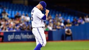 Toronto Blue Jays starting pitcher Marco Estrada (25) reacts on the mound during fifth inning American league baseball action against the Tampa Bay Rays in Toronto on Tuesday, August 15, 2017. THE CANADIAN PRESS/Frank Gunn