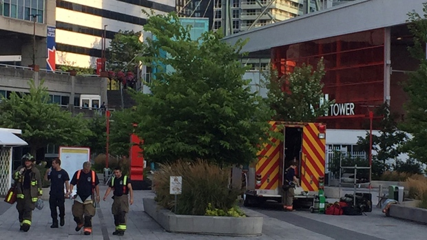 Crews extinguished a fire in the CN Tower's antenna mast on Wednesday morning. (Pooja Handa/ CP24)
