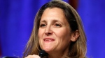 Canadian Foreign Affairs Minister Chrystia Freeland speaks during a news conference, Wednesday, Aug. 16, 2017, at the start of NAFTA renegotiations in Washington. (AP Photo/Jacquelyn Martin)