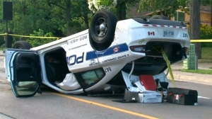 A Peel Regional Police cruiser involved in a crash in Brampton is seen in this photo.