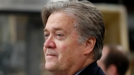 FILE - In this April 29, 2017, file photo, Steve Bannon, chief White House strategist to President Donald Trump is seen in Harrisburg, Pa. Bannon says there's no military solution to North Korea's threats and says the U.S. is losing the economic race against China. (AP Photo/Carolyn Kaster, File)