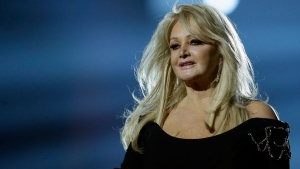 "In this May 17, 2013, file photo, Bonnie Tyler performs her song ""Believe in Me"" during a rehearsal for the final of the Eurovision Song Contest at the Malmo Arena in Malmo, Sweden.  (AP Photo/Alastair Grant, File)"