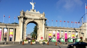 Cement blocks decorated with flowers sit in front of the Canadian National Exhibition grounds ahead of the 2017 opening day on August 18. (Pat Darrah/CTV News Toronto)