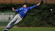 Toronto Blue Jays second baseman Darwin Barney misses an RBI single hit by Chicago Cubs' Albert Almora Jr. during the second inning of a baseball game, Friday, Aug. 18, 2017, in Chicago. (AP Photo/Paul Beaty)