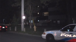 Police are investigating a stabbing at an apartment building in Parkdale.