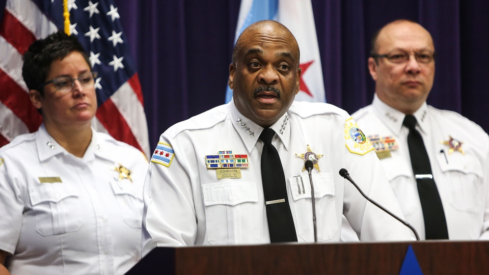 Chicago Police Superintendent Eddie Johnson, center, speaks about the charges against Andrew Warren and Wyndham Lathem during a news conference at the Chicago Police Department headquarters on Sunday, Aug. 20, 2017. (Alexandra Wimley/Chicago Tribune via AP)