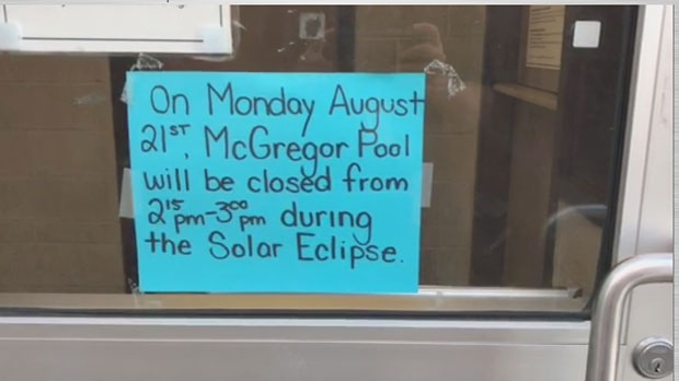 The City of Toronto will be closing outdoor pools for 30 minutes during the peak of the partial solar eclipse on Monday afternoon. (Troy Gallant/ CP24)