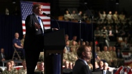 U.S. President Donald Trump speaks at Fort Myer in Arlington Va., Monday, Aug. 21, 2017, during a Presidential Address to the Nation about a strategy he believes will best position the U.S. to eventually declare victory in Afghanistan. (AP / Carolyn Kaster)