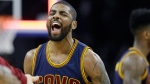 FILE - This April 24, 2016 file photo shows Cleveland Cavaliers guard Kyrie Irving reacting after a 3-point basket during the second half in Game 4 of a first-round NBA basketball playoff series against the Detroit Pistons in Auburn Hills, Mich. A superstar foursome of All-Star point guards are left in the NBA playoffs. In the Eastern Conference finals, starting Tuesday, May 17, 2016, it's Toronto's Kyle Lowry versus Cleveland's Irving. (AP Photo/Carlos Osorio, File)