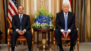 FILE - In this May 21, 2017 file photo, U.S. President Donald Trump, right, holds a bilateral meeting with Egyptian President Abdel Fattah al-Sisi in Riyadh. Egypt's Foreign Ministry has cancelled a meeting with senior White House advisor Jared Kushner after the U.S. announced aid cuts and delays to Egypt earlier. Kushner arrived on Wednesday, Aug. 23, 2017 on top of U.S. delegation that includes Jason Greenblatt, envoy for international negotiations, and Dina Powell, deputy national security adviser to discuss the possibility of resuming the Israeli-Palestinian peace process. (AP Photo/Evan Vucci, File)