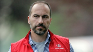 In this July 13, 2012, file photo, Dara Khosrowshahi the CEO of Expedia, Inc., attends the Allen & Company Sun Valley Conference in Sun Valley, Idaho. (AP Photo/Paul Sakuma, File)