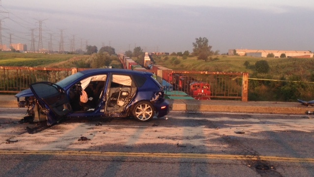 Overpass in Vaughan severely damaged after being hit by vehicle