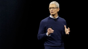 In this Monday, June 5, 2017, file photo, Apple CEO Tim Cook speaks during an announcement of new products at the Apple Worldwide Developers Conference in San Jose, Calif.  (AP Photo/Marcio Jose Sanchez, File)