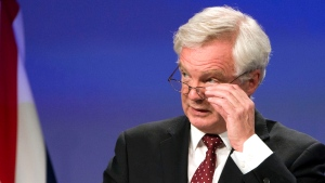 British Secretary of State for Exiting the European Union David Davis speaks during a media conference at EU headquarters in Brussels on Thursday, Aug. 31, 2017. The EU and Britain concluded a third round of Brexit negotiations on Thursday. (AP Photo/Virginia Mayo)