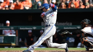 Toronto Blue Jays' Josh Donaldson follows through on a single against the Baltimore Orioles in the 10th inning of a baseball game, Sunday, Sept. 3, 2017, in Baltimore. The Orioles won 5-4 in 12 innings. (AP Photo/Gail Burton)