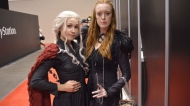 Two young women show off their 'Game of Thrones' costumes at Fan Expo Canada in downtown Toronto Saturday September 2, 2017. (Joshua Freeman /CP24)