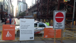A section of King Street is closed for the Toronto International Film Festival. (Cam Woolley/ CP24)