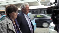 Pat Sorbara walking to court in Sudbury on Thursday morning.