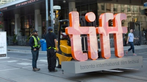 A sign bearing the Toronto International Film Festival logo sits on a fork lift as preparations are made for the festival's opening night on Thursday September 7, 2017. THE CANADIAN PRESS/Chris Young