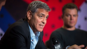 "Director George Clooney speaks during a press conference at the Toronto International Film Festival for the movie ""Suburbicon"" on Sunday, September 10, 2017. THE CANADIAN PRESS/Chris Donovan"