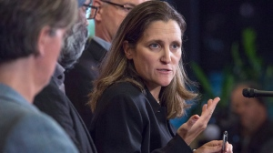 Foreign Affairs Minister Chrystia Freeland talks to reporters about disaster relief as the Liberal cabinet meets in St. John's, N.L. on Tuesday, Sept. 12, 2017. THE CANADIAN PRESS/Andrew Vaughan