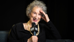 "Author Margaret Atwood speaks during a press conference for ""Alias Grace"" at the Toronto International Film Festival on Tuesday, September 12, 2017. THE CANADIAN PRESS/Chris Donovan"