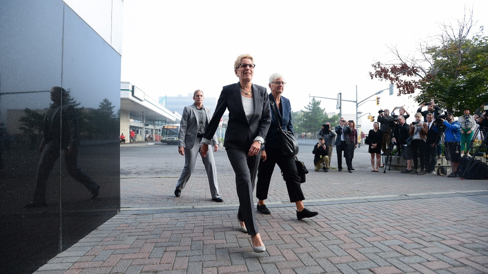 Ontario Premier Kathleen Wynne arrives to appear as a witness in the Election Act bribery trial in Sudbury, Ontario, Wednesday, Sept. 13, 2017. THE CANADIAN PRESS/Sean Kilpatrick