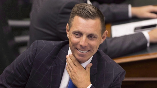 Ontario Provincial Conservative Leader Patrick Brown speaks with members of his party before the Lieutenant Governor of Ontario's Speech from the Throne, opening the second session of the 41st Parliament of Ontario, in Toronto on Monday Sept. 12, 2016. Ontario's Progressive Conservatives are riding high above the unpopular governing Liberals in the polls, but internal party divisions could distract from that momentum one year away from the next election.THE CANADIAN PRESS/Peter Power