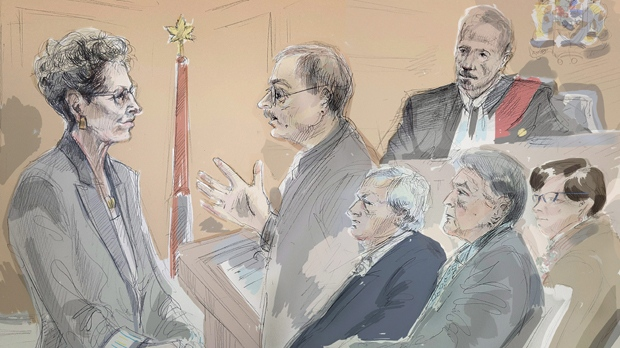 In this artist's sketch, Ontario Premier Kathleen Wynne (left) is questioned by Crown Prosecutor Vern Brewer (centre) at the trial of two Liberals who are charged with bribery under the Election Act, in Sudbury, Ont., Wednesday, Sept.13, 2017. Justice Howard Borenstein (top right), lawyer Brian Greenspan, Gerry Lougheed and Pat Sorbara look on. THE CANADIAN PRESS/Alexandra Newbould