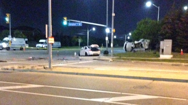 One man is dead and two others are in hospital after a crash in Mississauga on Sept. 14, 2017. Impaired driving is suspected in the case. (Cam Woolley/CP24)